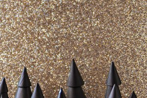 Black Christmas trees/gold glitter