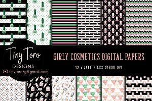 Girly Cosmetics Digital Paper