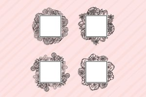 Black and white Floral frames