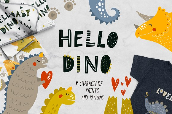 Cute Dinosaurs - Hello Dino-Graphicriver中文最全的素材分享平台