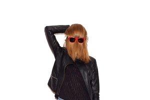 girl wearing sunglasses on hair