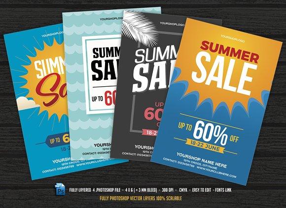 4 Summer Sale Flyer Set