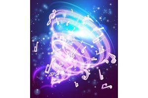 Abstract Magic Music Musical Notes Background