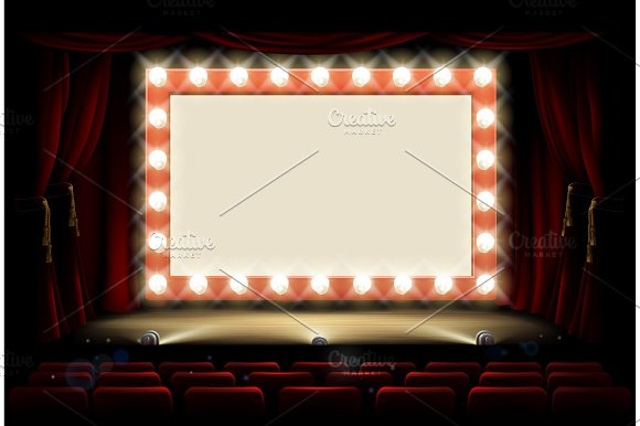 Cinema Or Theatre With Style Light Bulb Sign