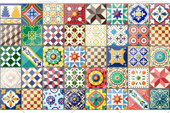 Set Of Spanish Ceramics Patterns Graphic Patterns Creative Market Custom Spanish Patterns