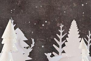 Winter Dark forest silhouettes