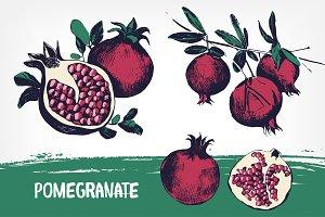 Set of pomegranates