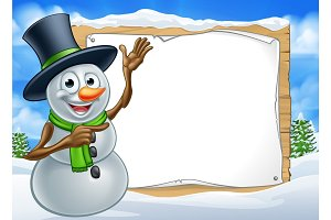 Snowman Cartoon Christmas Sign