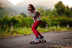 teenage girl skateboarding