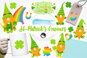 St-Patrick's gnome illustration pack