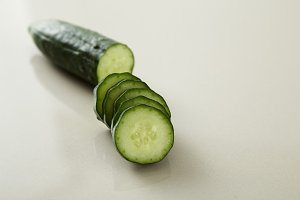 fresh juicy sliced cucumber vegetable