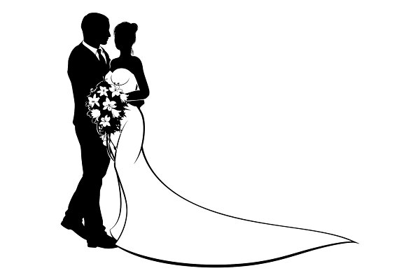 Bride and Groom Silhouette Wedding…