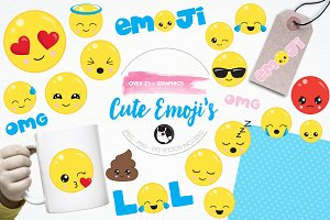 Cute emoji's illustration pack