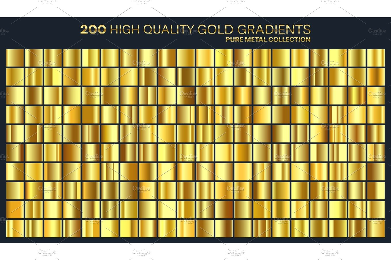 Gold Golden Gradient Pattern Template Set Of Colors For