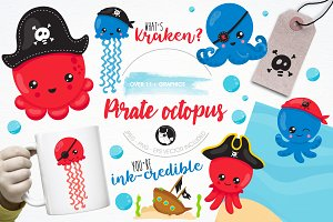 Pirate octopus illustration pack