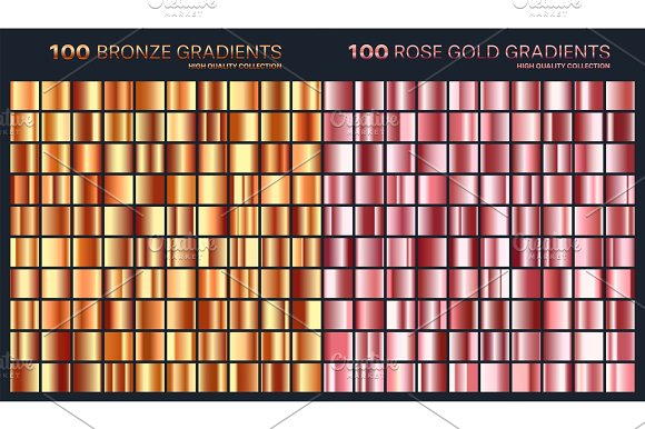 Rose Gold Golden Gradient Pattern Template.Set Of Colors For Design Collection Of High Quality Gradients.Metallic Texture Shiny Background.Pure Metal.Suitable For Text Mockup Banner Ribbon Ornament