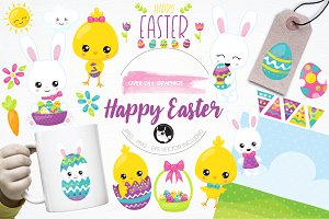 Happy Easter illustration pack