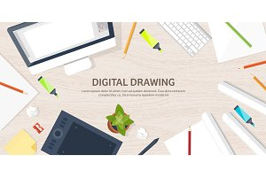 Graphic web design. Drawing and painting. Development. Illustration, sketching, freelance. User interface. UI. Computer, laptop. Wood texture.