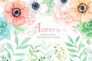 Aurora Floral Watercolor clipart