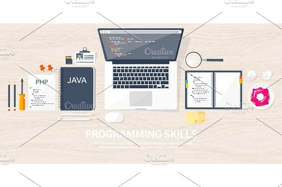 Programming Coding Flat Computing Background Code Hardware Software Web Development Search Engine Optimization Innovation Technologies Mobile App Vector Illustration SEO