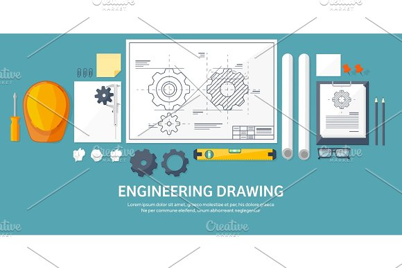 Vector Illustration Engineering And Architecture Drawing Construction Architectural Project Design Sketching Workspace With Tools Planning Building