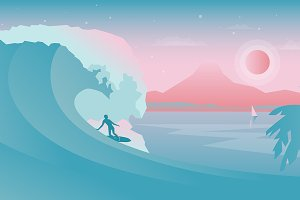 Vector landscape with surfer