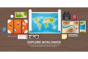 Travel and tourism. Flat style. World, earth map. Globe. Trip, tour, journey, summer holidays. Travelling,exploring worldwide. Adventure,expedition. Table, workplace. Traveler. Navigation or route planning. Wood, wooden.