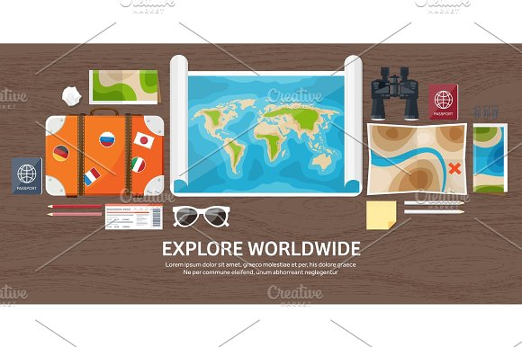 Travel And Tourism Flat Style World Earth Map Globe Trip Tour Journey Summer Holidays Travelling Exploring Worldwide Adventure Expedition Table Workplace Traveler Navigation Or Route Planning Wood Wooden
