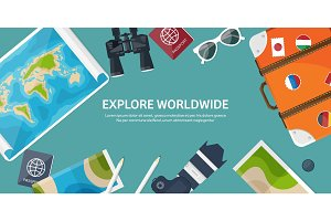 Travel and tourism. Flat style. World, earth map. Globe. Trip, tour,journey,summer holidays. Travelling, exploring worldwide. Adventure,expedition. Table,workplace. Traveler. Navigation or route planning.