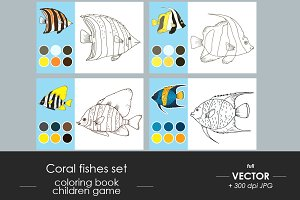 Coloring book fishes set