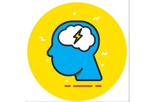 Brainstorm flat design icon