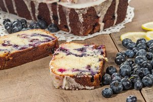 Blueberry coffee cake sliced