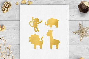 safari animals gold foil clip art