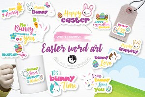 Easter word art illustration pack
