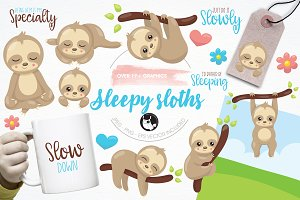Sleepy sloth illustration pack
