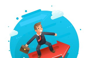 Businessman character riding