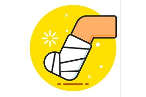 Feet Fracture Vector Icon
