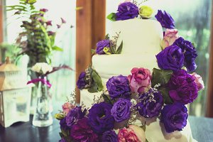 Wedding Cake with Purple Flower