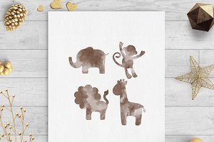 safari animals watercolor clip art