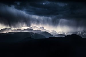 Storm and lightning in the mountains