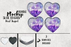 Heart shaped slate coaster mockup