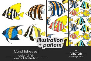 Coral fishes set, patterns