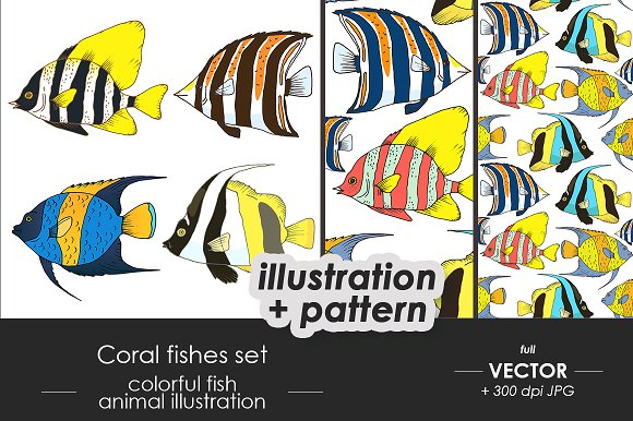 Coral Fishes Set Patterns