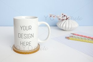White Mug Photo - Styled Desktop