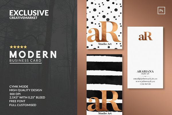 Business Card Templates: John Wayk Co. - MODERN Business Card Template 3 in 1