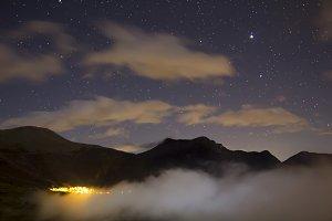 Mountains at night
