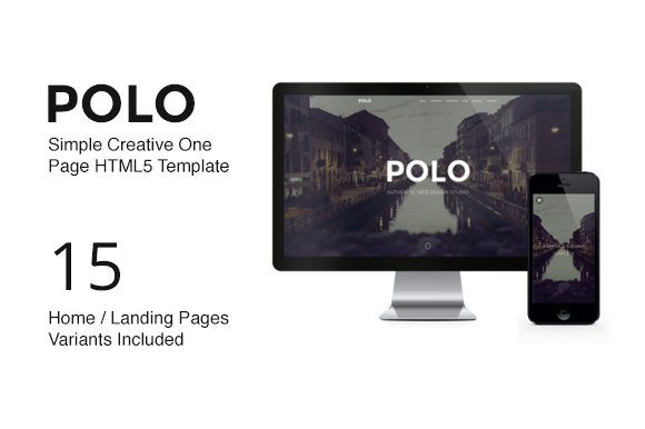 Polo One Page Parallax Template Htmlcss Themes Creative Market