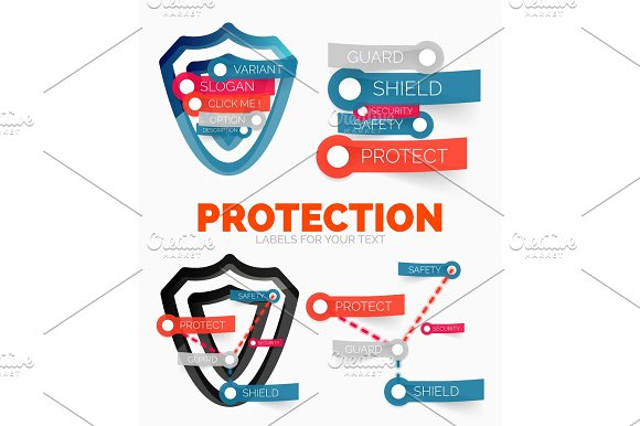 Vector Diagram Elements Set Of Protection And Security Shield Concept Icons