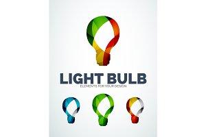 Vector light bulb abstract symbols, new idea concept