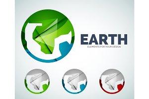 Vector earth globe circle abstract icons